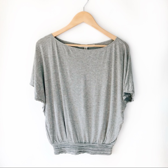 Max Studio Flowy Short Sleeve Tee Rouched